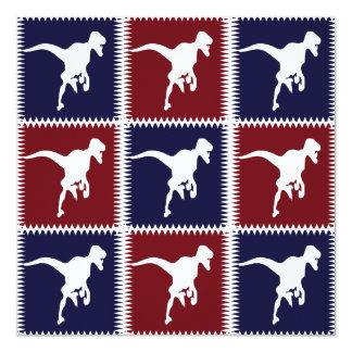 Fun Blue Red T Rex Dinosaur Square Pattern Card