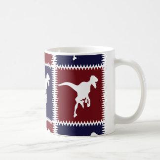 Fun Blue Red T Rex Dinosaur Square Pattern Coffee Mug