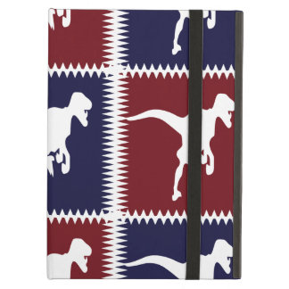 Fun Blue Red T Rex Dinosaur Square Pattern iPad Air Cases