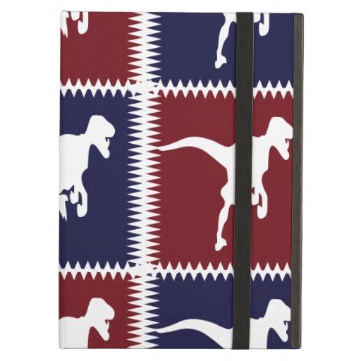 Fun Blue Red T Rex Dinosaur Square Pattern iPad Folio Case