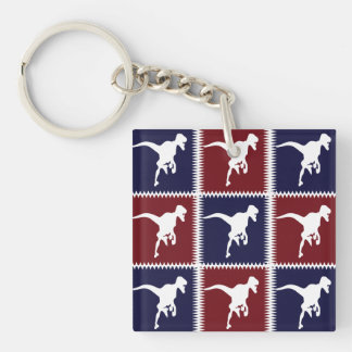 Fun Blue Red T Rex Dinosaur Square Pattern Double-Sided Square Acrylic Keychain