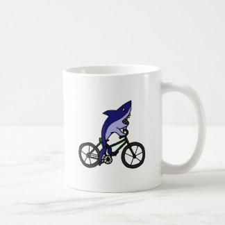 Fun Blue Shark Riding Green Bicycle Coffee Mug
