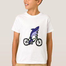 Fun Blue Shark Riding Green Bicycle T-Shirt