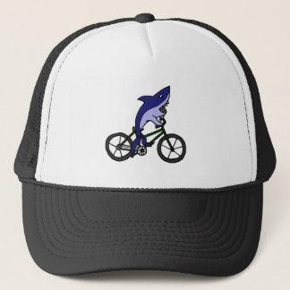 Fun Blue Shark Riding Green Bicycle Trucker Hat