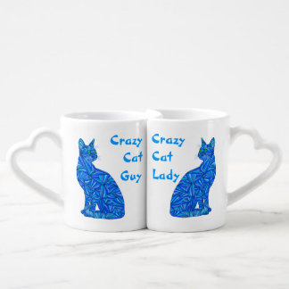Fun Blue Sitting Cat Crazy Cat Guy And Lady Mugs