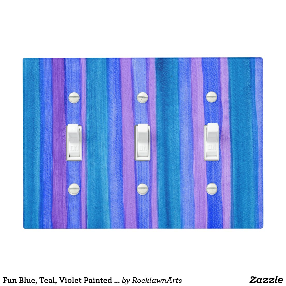 Fun Blue, Teal, Violet Painted Stripes Light Switch Cover