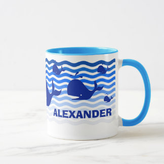 Fun blue whale in the deep blue sea mug