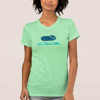 Fun Blue Whale on Ocean Waves Summer Shirt