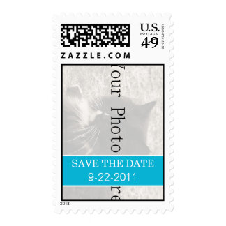 Fun Blue Your Photo Save The Date Stamps