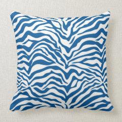 fun blue zebra stripes wild animal print throw pillow