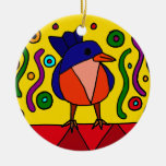 Fun Bluebird Folk Art Design Christmas Tree Ornament
