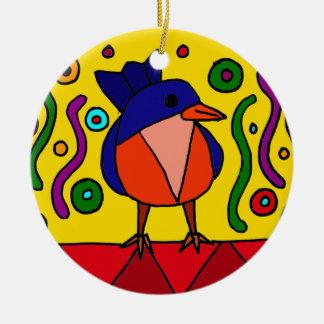 Fun Bluebird Folk Art Design Double-Sided Ceramic Round Christmas Ornament
