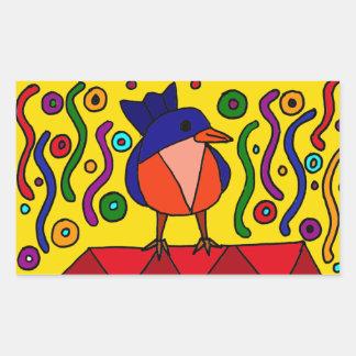 Fun Bluebird Folk Art Design Rectangular Sticker
