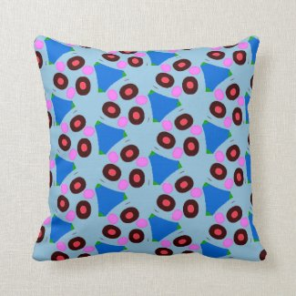Fun Blues Reds Blacks in Throw Pillow