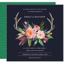 FUN BOHO NAVY BLUSH ANTLER FLORAL COUNTRY WEDDING INVITATION