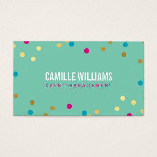 FUN BOLD COLORFUL confetti gold pink blue mint Business Card