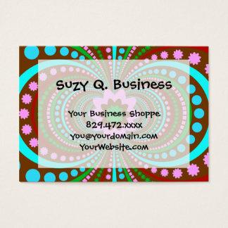 Fun Bold Pattern Brown Pink Teal Crazy Design Business Card