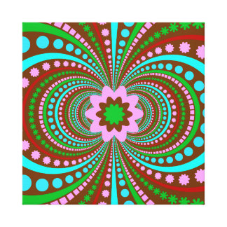 Fun Bold Pattern Brown Pink Teal Crazy Design Stretched Canvas Prints