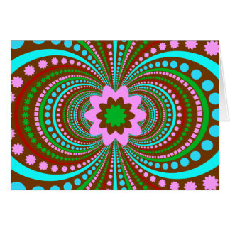 Fun Bold Pattern Brown Pink Teal Crazy Design Stationery Note Card