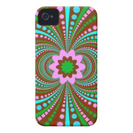 Fun Bold Pattern Brown Pink Teal Crazy Design iPhone 4 Case-Mate Cases