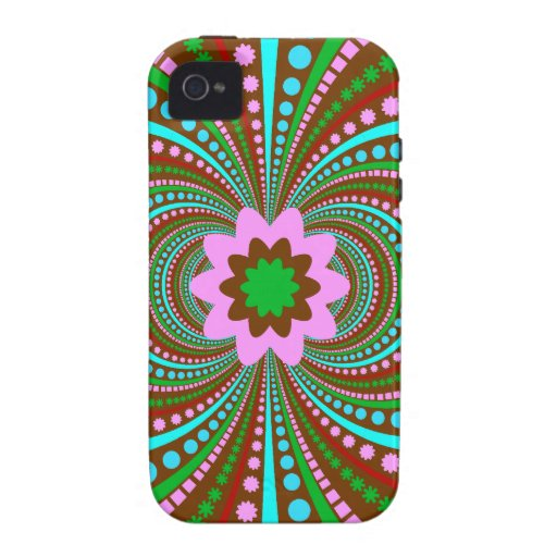 Fun Bold Pattern Brown Pink Teal Crazy Design Case For The iPhone 4
