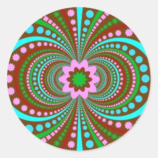 Fun Bold Pattern Brown Pink Teal Crazy Design Classic Round Sticker