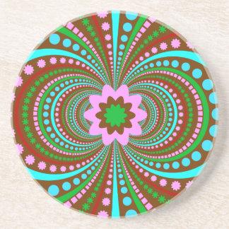 Fun Bold Pattern Brown Pink Teal Crazy Design Coasters