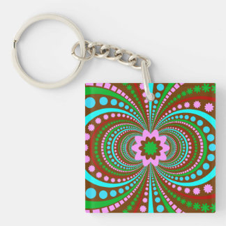 Fun Bold Pattern Brown Pink Teal Crazy Design Double-Sided Square Acrylic Keychain