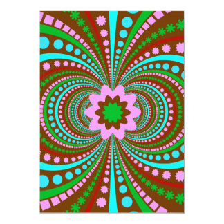 Fun Bold Pattern Brown Pink Teal Crazy Design 5x7 Paper Invitation Card