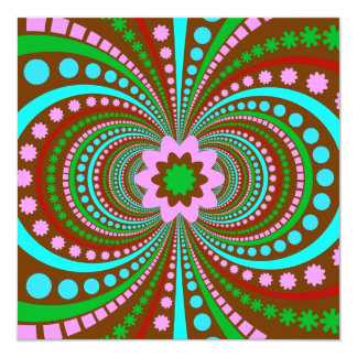 Fun Bold Pattern Brown Pink Teal Crazy Design 5.25x5.25 Square Paper Invitation Card