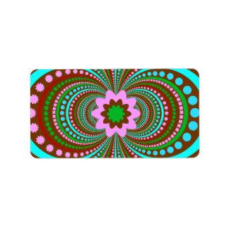 Fun Bold Pattern Brown Pink Teal Crazy Design Label