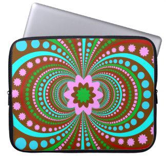 Fun Bold Pattern Brown Pink Teal Crazy Design Laptop Sleeve
