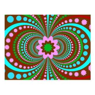 Fun Bold Pattern Brown Pink Teal Crazy Design Postcard