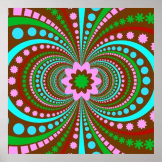Fun Bold Pattern Brown Pink Teal Crazy Design Print