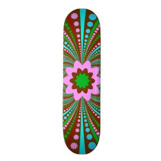 Fun Bold Pattern Brown Pink Teal Crazy Design Skateboard Deck