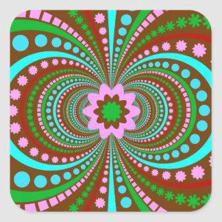 Fun Bold Pattern Brown Pink Teal Crazy Design Square Stickers