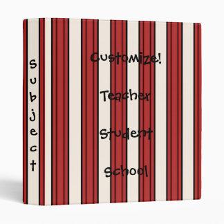 Fun! Bold Red White Stripes Notebook Binder