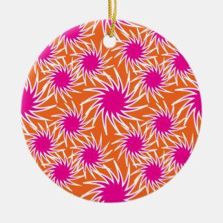 Fun Bold Spiraling Wheels Hot Pink Orange Pattern Ceramic Ornament