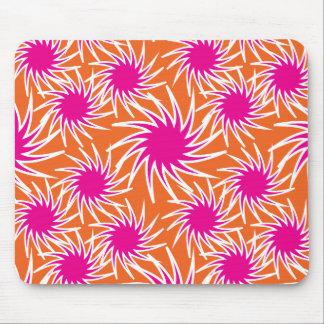 Fun Bold Spiraling Wheels Hot Pink Orange Pattern Mousepads