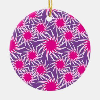 Fun Bold Spiraling Wheels Hot Pink Purple Pattern Ceramic Ornament