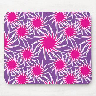 Fun Bold Spiraling Wheels Hot Pink Purple Pattern Mouse Pads