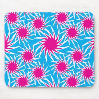 Fun Bold Spiraling Wheels Hot Pink Teal Pattern Mouse Pads