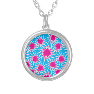 Fun Bold Spiraling Wheels Hot Pink Teal Pattern Necklaces