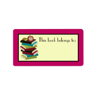 Fun Book Stack Reader Bookplate Stickers Gift Custom Address Label