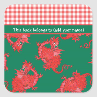 Fun Bookplates to Personalize: Cute Red Dragon