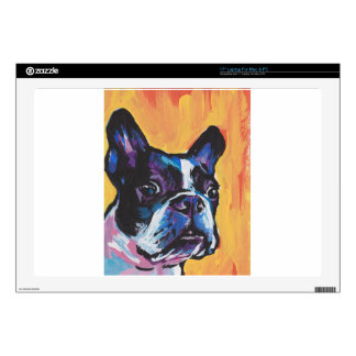 "Fun Boston Terrier bright colorful Pop Art 17"" Laptop Skin"