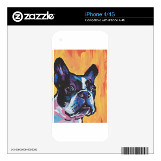 Fun Boston Terrier bright colorful Pop Art Decals For The iPhone 4S