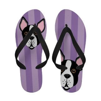 Fun Boston Terrier Purple Stripes Flip Flops