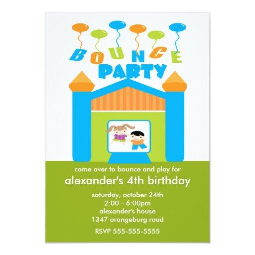 Fun Bounce House Birthday Party Custom Invite