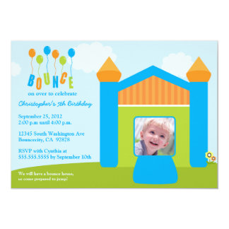 "Fun bounce house birthday party photo invitation 5"" x 7"" invitation card"